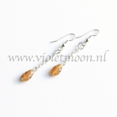 Carneool oorbellen / Carnelian earrings by violetmoon.nl