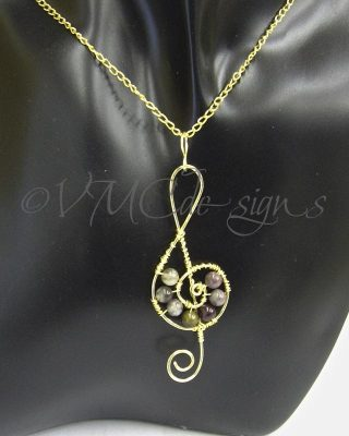 tourmaline music note pendant