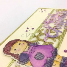 Christmas ribbon with little girl card