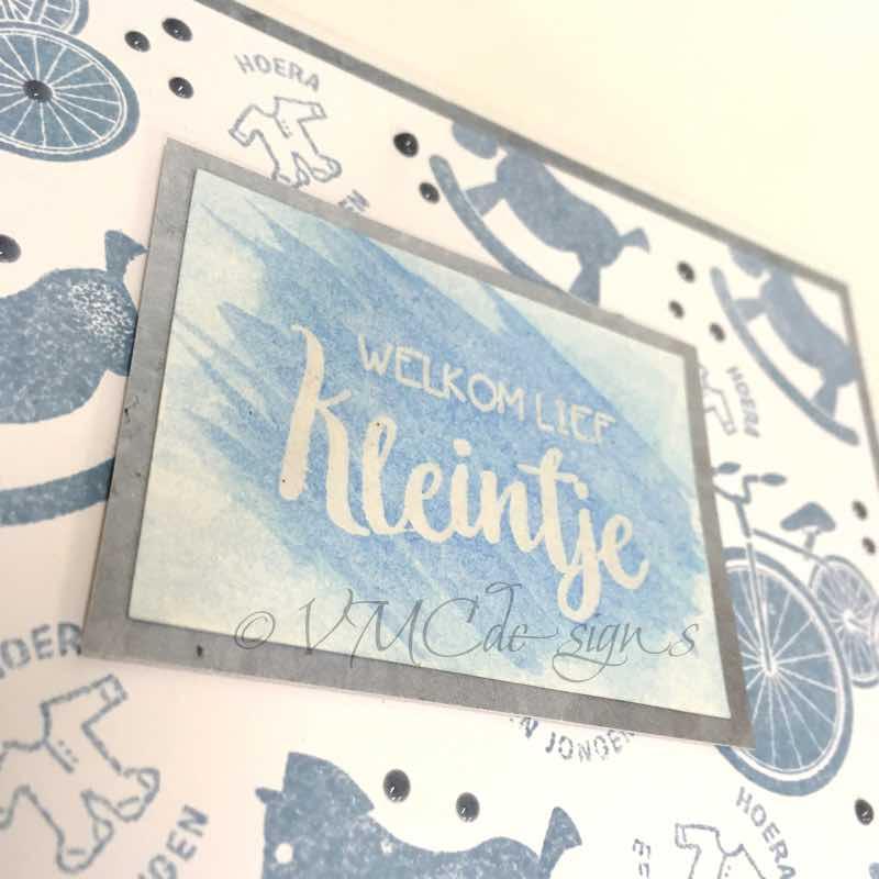 welkom lief kleintje kaart blauw close-up
